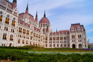 Budapest parliament with grass