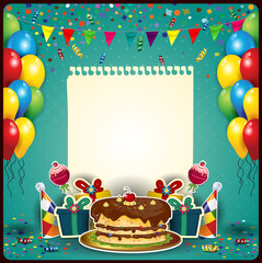 Happy birthday with a sheet of paper