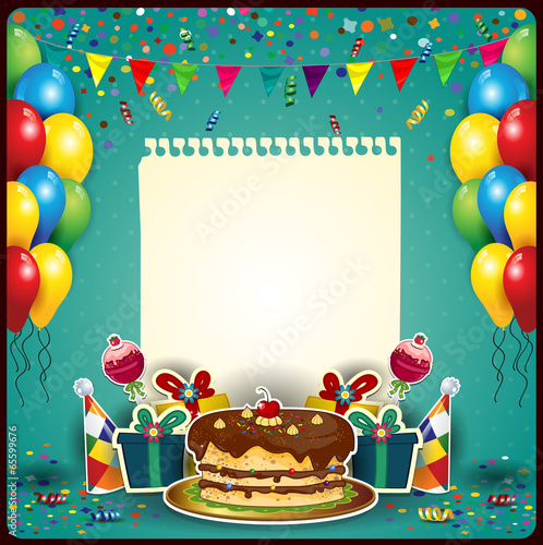 Happy birthday with a sheet of paper - 65599676