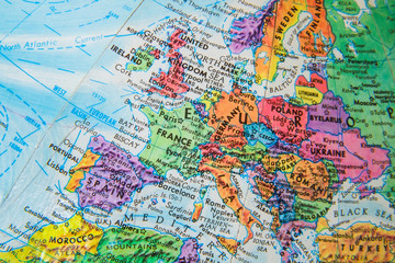 World Globe Map close up of Europe