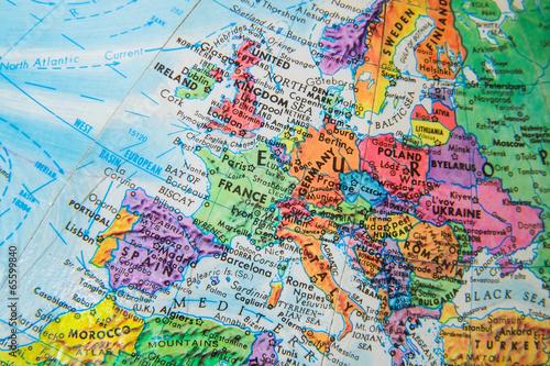 Leinwanddruck Bild World Globe Map close up of Europe