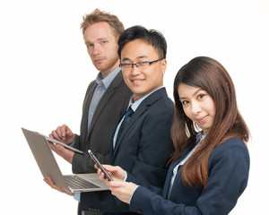 Small group of smiling business mixed race people standing toget