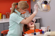 Dental procedure, tooth examine, dentist use light