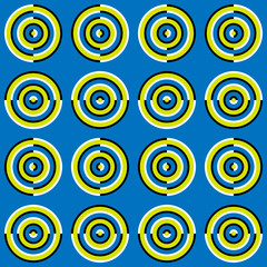 Moving Rings Optical Illusion, Vector Seamless Pattern
