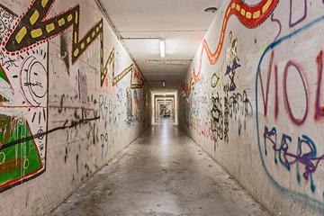 grunge underpass with graffiti