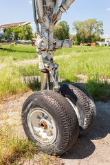 The landing gear of the old russian plane