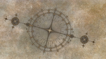 ancient nautical instrument, compass on grunge parchment