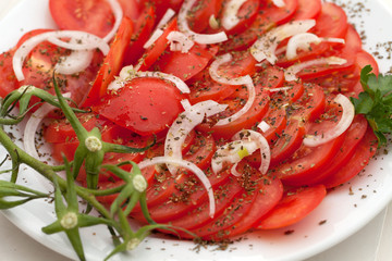 slices of tomatoes with the onion and herbs