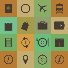 Retro style Travel Icons vector set.