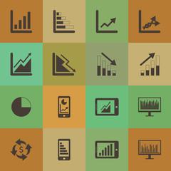 Retro style  Business Graph icon vector set.