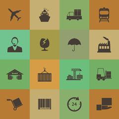 Retro style Logistics icons vector set.