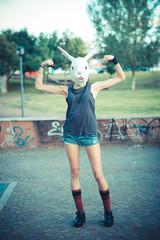 mask rabbit young beautiful model woman