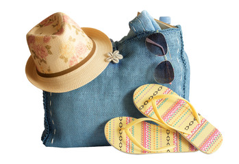 Beach bag, hat, sunglasses and other beach stuff, isolated on wh