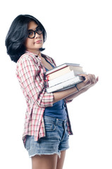 Nerd Asian College Girl With a Pile of Books