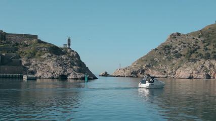 Balaklava Coast of Crimea. Black Sea from the speed boat on a