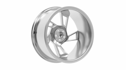 Car alloy rim spin on white background