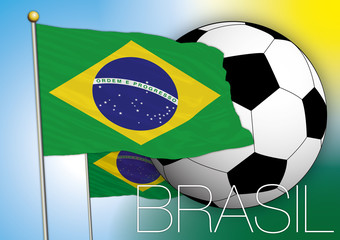 brazil flag with football ball