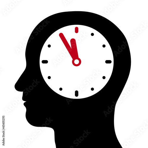 Head with an internal clock at five-to-twelve