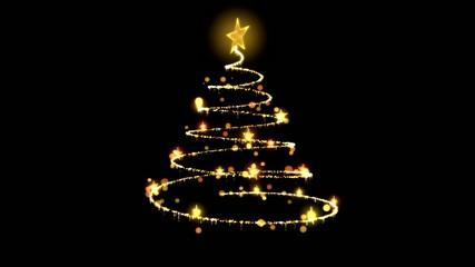 Rotating Christmas Tree Animation - Loop Golden