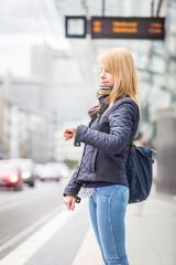 German Blonde Girl at Tram Stop in Bonn