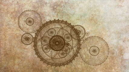 Antique Clock Mechanism On Grunge Parchment
