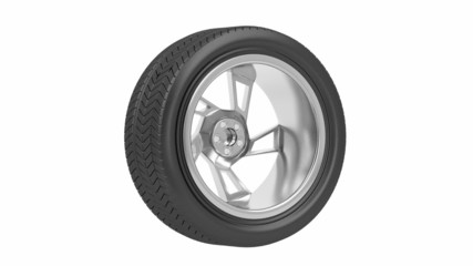 Car wheel spin on white background