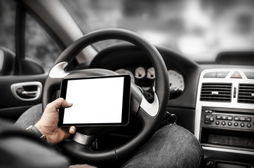 Car driver with the Tablet PC