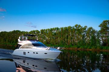 Pleasure boat floats on the river Volga