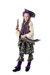 Proud little pirate isolated on white backdrop