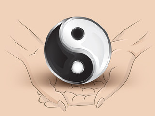 jing balance icon hold two human hands across vector