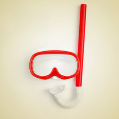 diving mask and snorkel, with retro effect
