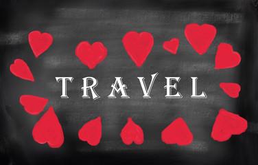 i love travel sign on handmade blackboard