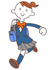 鞄を持って走る女子高生