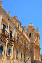 Noto, St. Nicholas Cathedral perspective view, Sicily