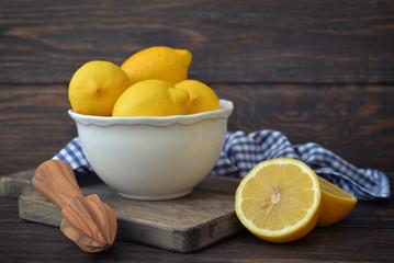 Lemons in a white bowl