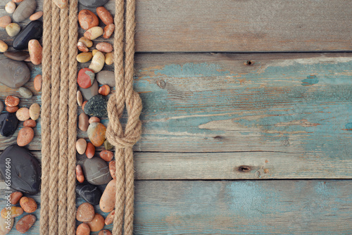 Sea stones with rope