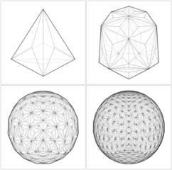 From Tetrahedron To The Ball Sphere Lines Vector