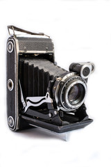 Medium format retro camera isolated on white