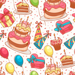 cute birthday seamless background