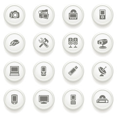 Electronics icons on gray buttons.