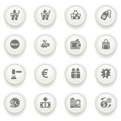 Commerce icons on gray buttons.