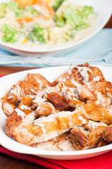 crispy roast rosemary chicken with creamy truffle sauce