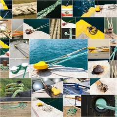 collage de photographies d'amarrages de bateaux