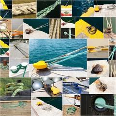 collage de photographies d'amarrages de bateaux
