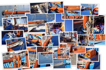 collage de photographies d'un ancien voilier