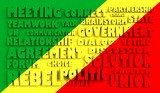 congo flag relief text in conformity with political situation poster