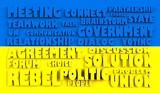 ukraine flag relief text in conformity with political situation poster