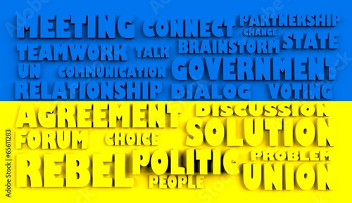 poster of  ukraine flag relief text in conformity with political situation