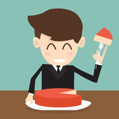 The businessman cutting big cake piece