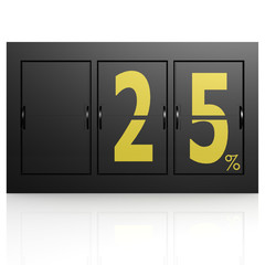 Airport display board 25 percent